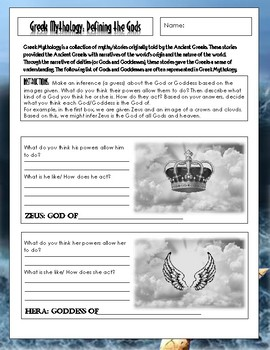 Greek Mythology Activity: Defining the Gods