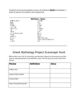 Greek Mythology Project and Lesson