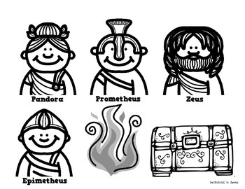 Greek Mythology: Prometheus and Pandora's Box Stick Puppets