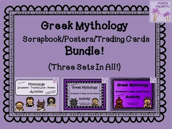 Greek Mythology Scrapbook/Trading Cards/Posters Activity BUNDLE