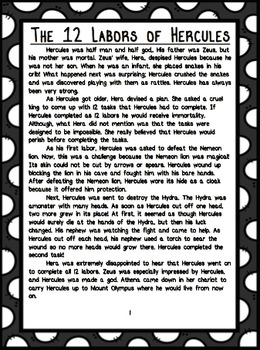 Greek Mythology Short Stories and Text-dependent Questions Mini Book