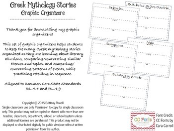 Greek Mythology Stories: Graphic Organizer