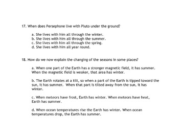 Greek Mythology Story DEMETER and PERSEPHONE 18 Multiple Choice Reading Compr Qs