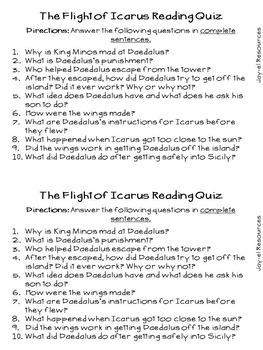 Greek Mythology- The Flight of Icarus Reading Quiz FREEBIE!