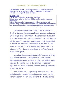 Greek Mythology- The Story of Cassandra and Reading Comprehension Activities
