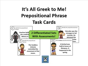 Greek Mythology Themed Prepositional Phrase Task Cards