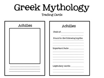 Greek Mythology Trading Cards