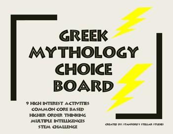 Greek Mythology Unit ELA Choice Board Tic Tac Toe Common Core STEM