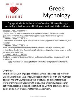 Greek Mythology Unit Plans