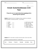 Greek Mythology Unit Test
