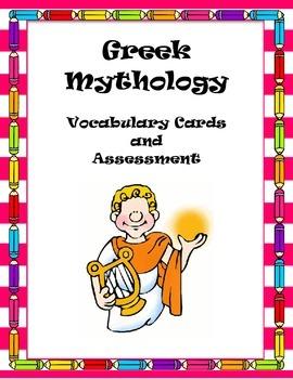 Greek Mythology Vocabulary Cards and Assessment