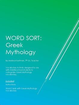Greek Mythology Vocabulary Word Sort