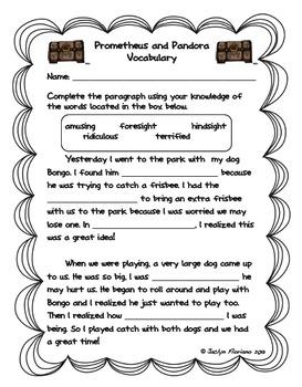 Greek Mythology Vocabulary and Activity Pages