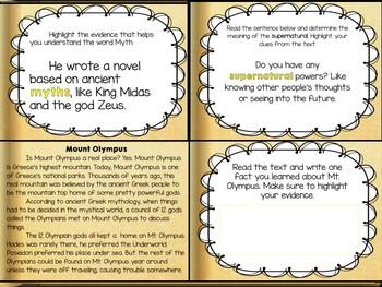 Greek Mythology Vocabulary and Task cards
