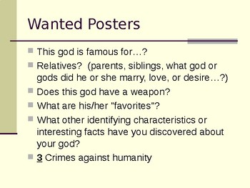Greek Mythology Wanted Poster Project