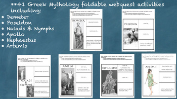Greek Mythology WebQuest Interactive Notebook Unit Distance Learning