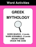 Greek Mythology - Word Search Puzzles, Scramble,  Secret Code,  Crack the Code