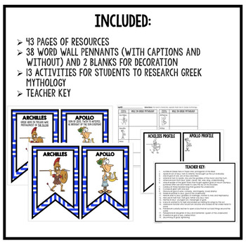 Greek Mythology Word Wall Pennants & Activity Pages