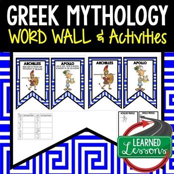 Greek Mythology Word Wall Pennants & Greek Mythology Activity Pages