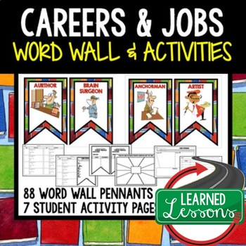 Career Exploration Word Wall Pennants & Activity Pages (Career Day)