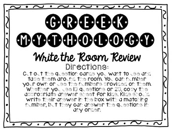 Greek Mythology Write the Room Review Activity