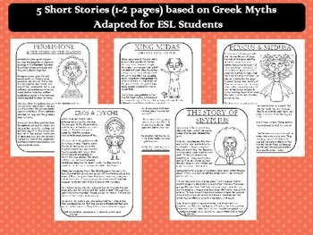 Greek Mythology for ESL II: Five Short Stories with Activities (CCSS Aligned)