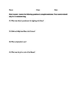 Greek Mythology test