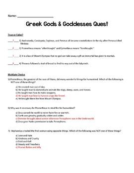 Greek Myths Test ANSWER KEY