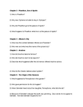Greek Myths by Olivia Coolidge Comprehension Questions with Answers