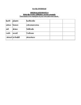 Greek N Latin Roots Lists and Quiz Parts 4 & 5