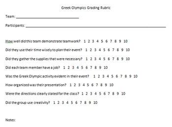 Greek Olympic Games Group Rubric