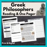 Greek Philosophers: Aristotle, Plato, and Socrates Quick R