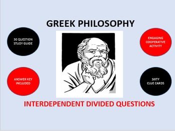 Greek Philosophy: Interdependent Divided Questions Activity