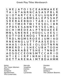 Greek Play Titles Word Search
