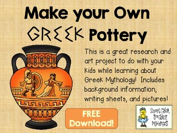 Greek Pottery Freebie ~ Research Information, Writing Sheets, and Art Activity!