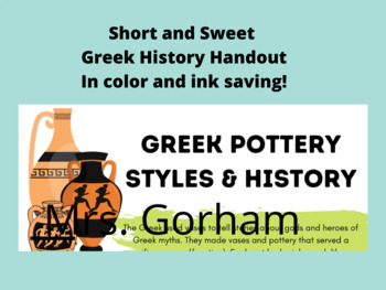 Greek Pottery (Clay) Unit - Coil Building and Greek Pottery History Project
