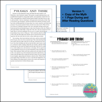 Greek/Roman Collected Myths Bundle: Close Reading and Analysis Questions