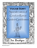 Spanish Names of Greek & Roman Gods & Goddesses Word Sort Activity