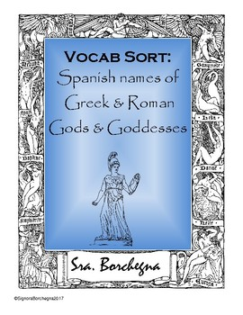 Spanish Names of Greek & Roman Gods & Goddesses Word Sort Activity