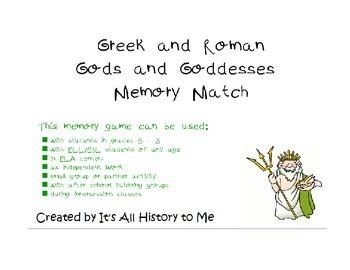 Greek & Roman Gods and Goddesses Memory Match Game ELA / Mythology