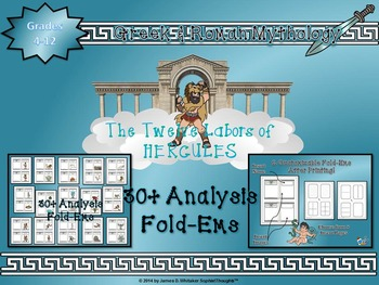 Greek & Roman Mythology 12 Labors of Hercules Mini Analysis Fold-Ems