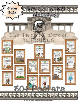 Greek & Roman Mythology 12 Labors of Hercules Posters