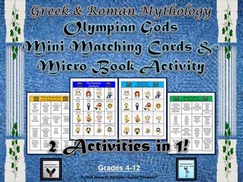 Greek & Roman Mythology Caricature Matching & Micro Books Activity
