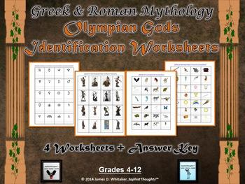 Greek & Roman Mythology Gods & Goddesses Identification Worksheets