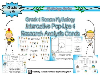 Greek & Roman Mythology Interactive Pop-Ups and Research Analysis Cards