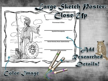 Greek & Roman Mythology Large Sketch Poster Activity