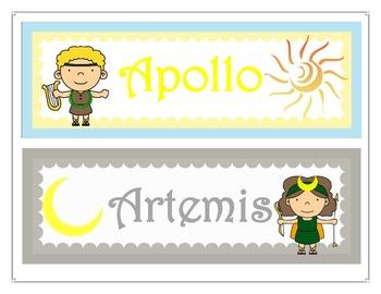 Greek & Roman Mythology Olympian Gods & Goddesses Caricature Word Wall