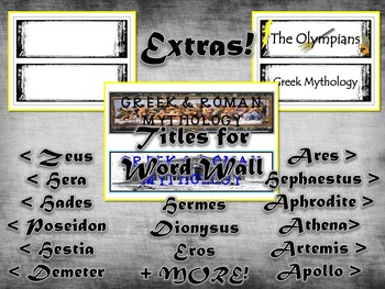 Greek & Roman Mythology Sketch Olympian Deities Word Wall