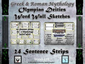 Greek & Roman Mythology Sketch Olympian Deities Word Wall