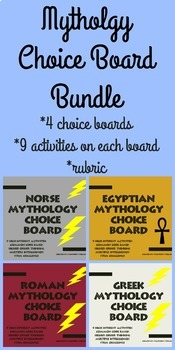 Greek Roman Norse Egyptian Mythology 4 CHOICE BOARD BUNDLE Project Menu